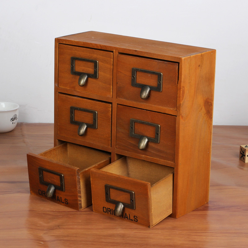 Wooden Storage Box Desk Organizer Multi Functional Cabinet With Small Six Drawers Hot In Holders Racks From Home Garden On