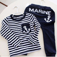 Spring Kids Clothes Navy Long Sleeve Pullover Striped Sports Suit Hot Sale New 2017 Casual Boys