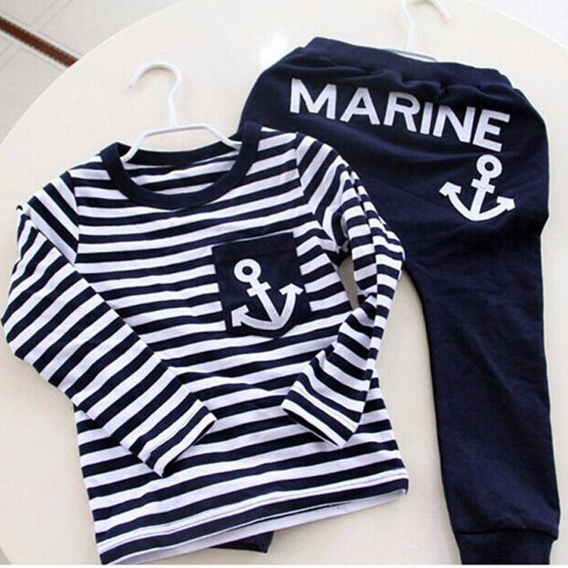 Spring Autumn Kids Clothes for Boys 2017 New Navy Blue Striped Boys Sports Suit Casual Long Sleeve Children Clothing Set 2015 new arrive super league christmas outfit pajamas for boys kids children suit st 004