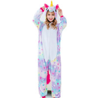 Cartoon Anime Unisex Adult Flano Cosplay Costume Colorful Star Unicorn Onesie Pajama For Halloween Carnival Party