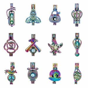 5pc Rainbow Color Flower Peace Dove Tiger Starfish Pearl Cage Beads Cage Essential Oil Diffuser Locket Charms for Oyster Pearl(China)