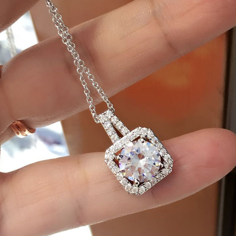 New South Korea Fashion White ZC Micro Inlay AAA Zircon,Geometrical Necklace For Gril To Gift Accessories Jewe