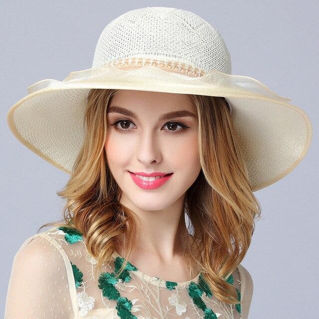 679e3c59cea95 New Summer Sun Hat Wide Brim Girls Outdoor Beach Travel Cap Girls Two Pearl  Flower Knitted