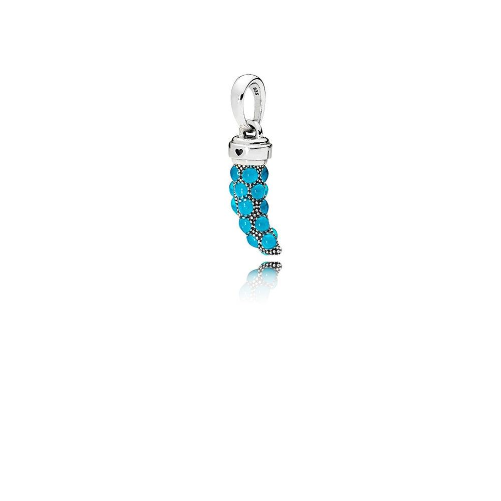 KAKANY 2018 Summer NEW 100% 925 Silver Original Turquoise Italian Horn Necklace Pendant, Turquoise Enamel Gift For Women