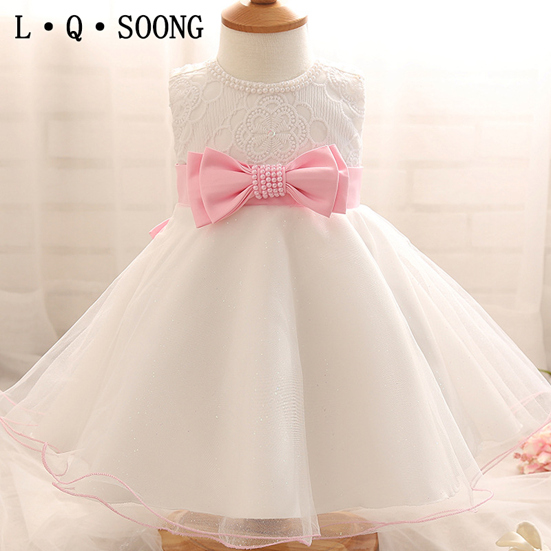 ec96b3df93 L Q SOONG brands 1 year girl baby birthday dress white beading ...