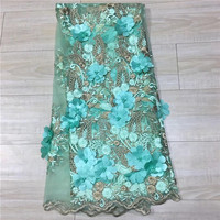 New Design African Lace Fabric 2018 High Quality Handmade Bead Lace, Sky Blue French Lace Fabric For Wedding, 3D Beaded Lac