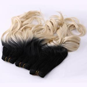 Image 2 - REYNA Sew in hair Ombre two tone Wavy synthetic hair extension weave 100% heat resistant Hair bundle