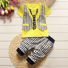 New boys fake vest tie t shirts plaid pants 2pcs set fashion summer gentleman clothes suit kids cotton party outwear 17A801