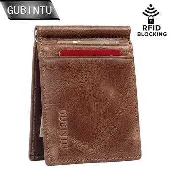 438eb5835 Diseño de cuero Original masculino moda viaje Delgado cartera bolsillo  frontal magnético gran capacidad dinero Clip caja de tarjeta para hombres  1025
