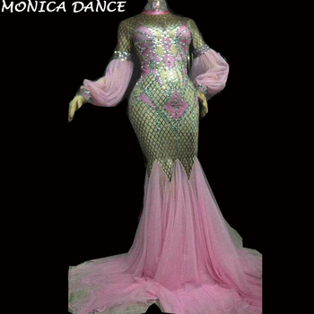 Women Sexy Pink Long Dress Sparkling Crystals Nightclub Party Celebrate Performance Dancer Singer Stage Wear Bling Dance Costume