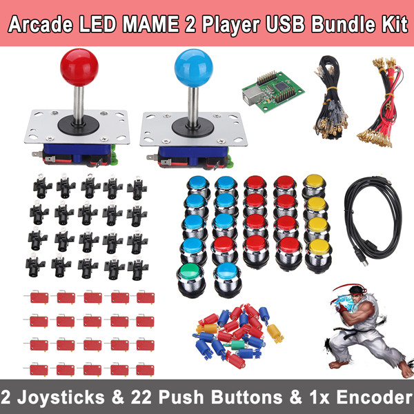22pcs LED Buttons 2 Players DIY Arcade Joystick Kits 1pcs USB Encoder Cables Arcade Game Parts Button Wiring Ball Joy Stick