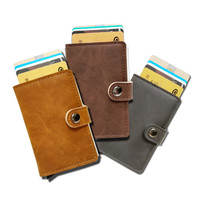 Slymaoyi Antitheft Mini Wallet High Quality Carbon Pu Leather Wallets Slim Men Rfid Mini Wallet Automatic