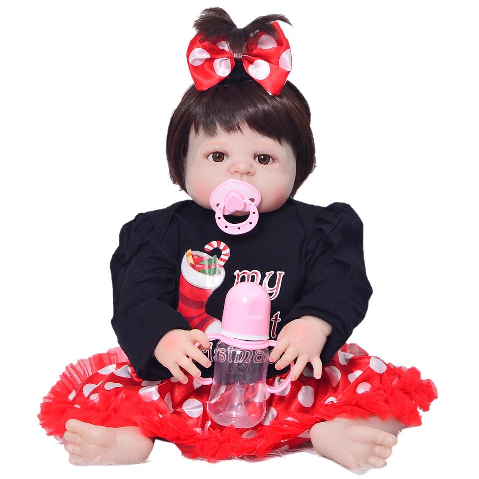 Realistic 23 inch Reborn Silicone Vinyl Dolls Girl Full Body Lifelike Handmade Newborn Baby Dolls Children Birthday Xmas Gifts торшер favourite 1687 1f