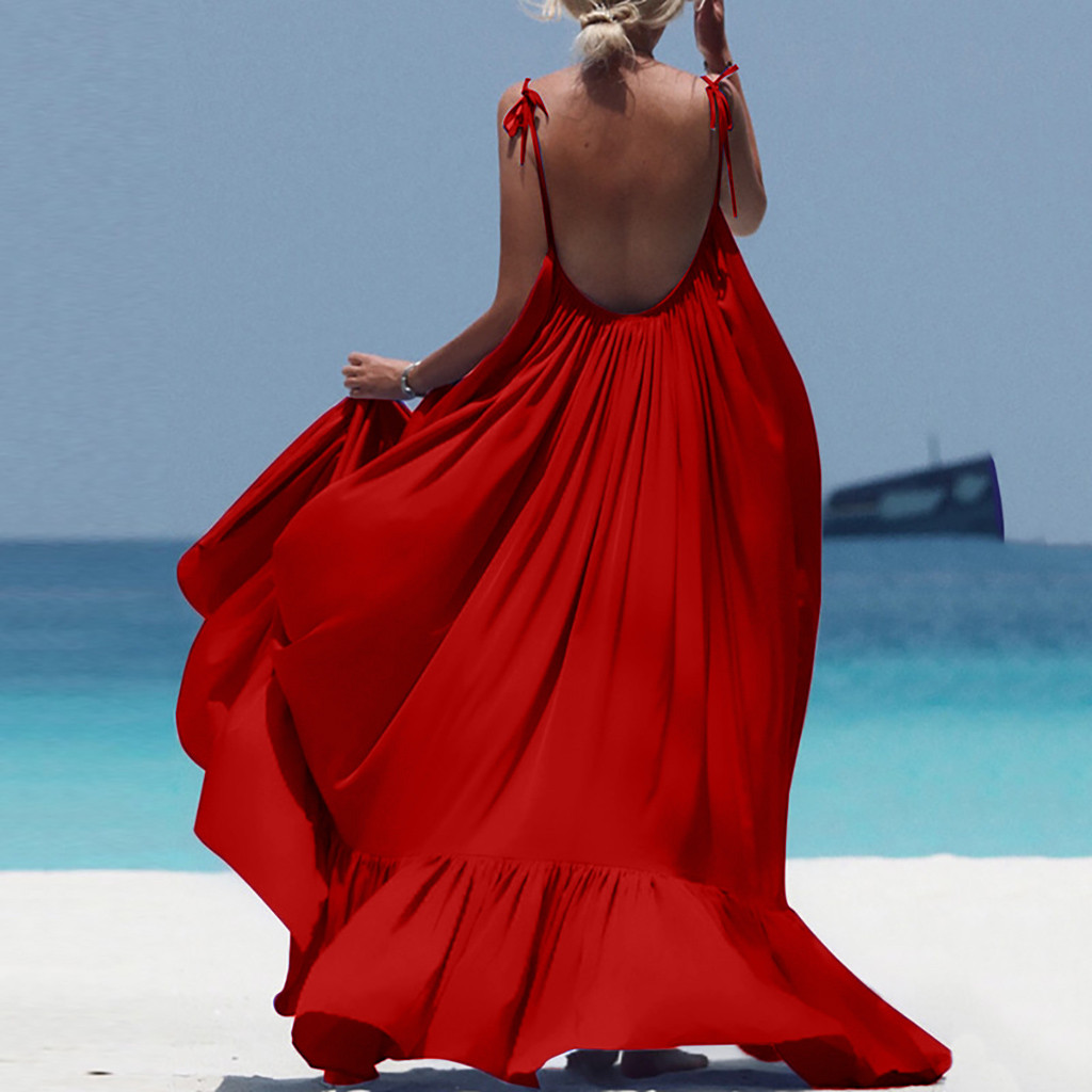 Boho Maxi Dress Women Spaghetti Strap Backless Long Dress 2019 Sexy Summer Party Bohemian Beach Dresses Vestidos Robe Femme 1