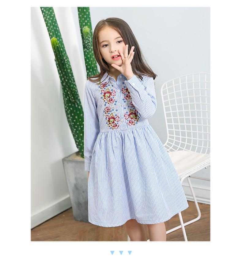 8bb3fec2417 2017 New Teen Girls Long Sleeve Dress Princess Flower Embroidery Striped  Dress for Kids Girl Autumn Fall Dress 10 12 14 15 years