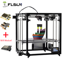 Модернизированный 3d принтер Flsun двойной экструдер большой размер печати 260*260*350 мм автоматическое выравнивание кровать с подогревом TFT Wifi