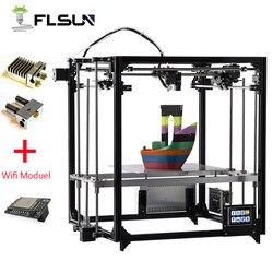 Улучшенный 3D принтер Flsun, двойной экструдер, большой размер печати 260*260*350 мм, автоматическое выравнивание, кровать с подогревом, TFT, Wifi, 2019