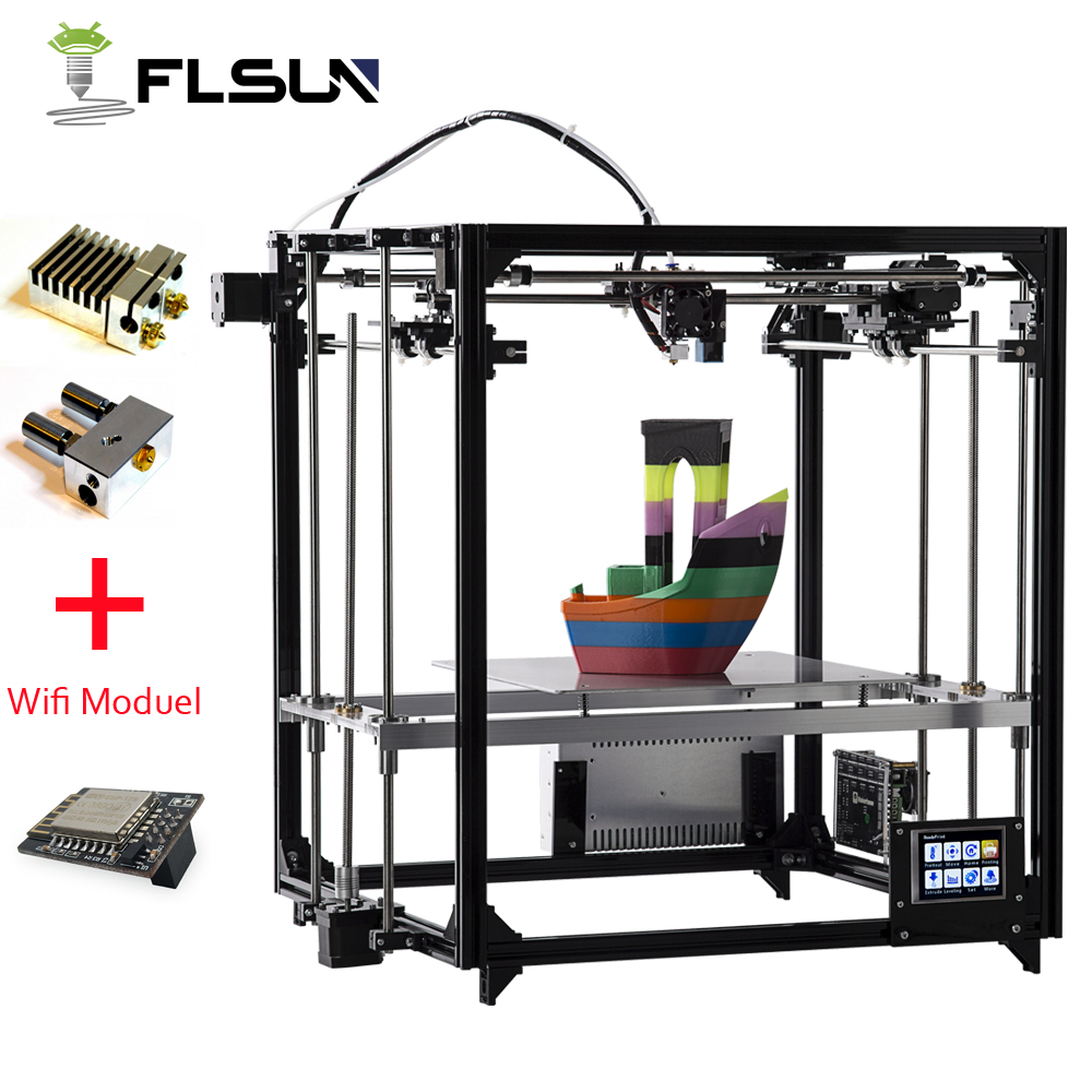2019 Upgraded 3D Printer Flsun Dual Extruder Large Printing Size 260*260*350mm Auto Leveling Heated Bed TFT Wifi