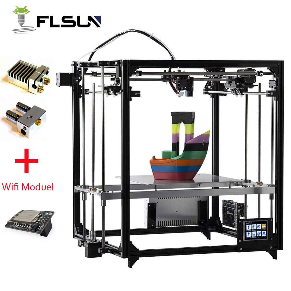 2019 atualizado impressora 3d flsun dupla extrusora grande tamanho de impressão 260*260*350mm auto nivelamento cama aquecida tft wifi