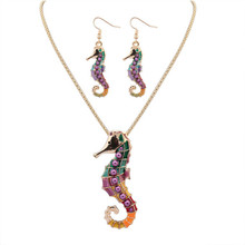 Фотография Fashion suit jewelery colorful charm naughty drop oil seahorse pendant necklace and earings for Women party Jewelry accessories