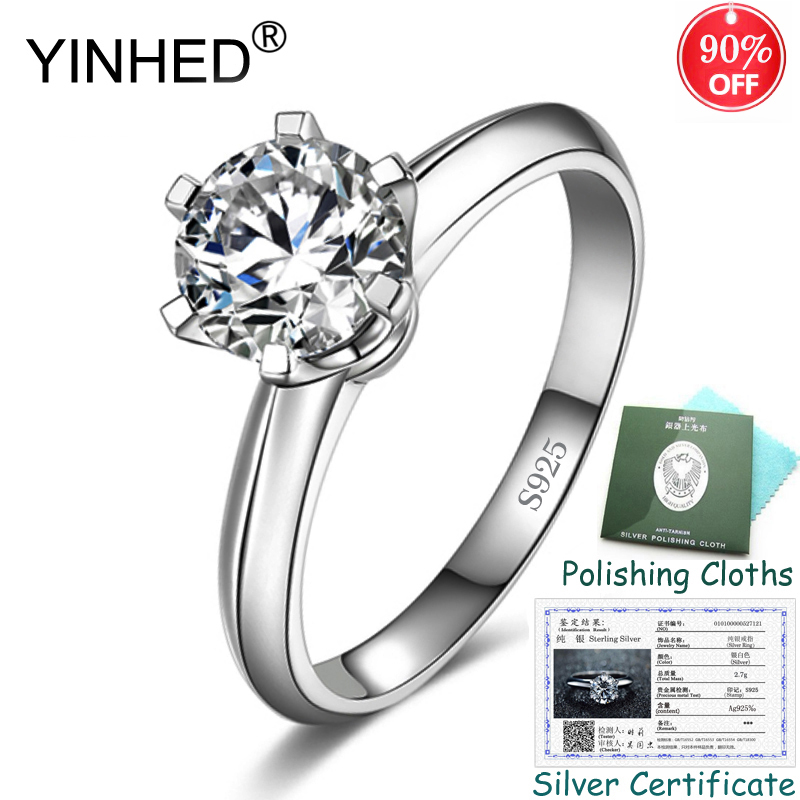 Enviado Certificado de Prata! YINHED 6 Garras Anel de Casamento Clássico 100% 925 Prata 1.25ct CZ Solitaire Ring para As Mulheres ZR552 Diamant