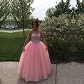2016 Sparkly Frisada Rosa Vestidos Quinceanera vestido de Baile vestido de Debutante 15 Anos Doce 16 vestido quinceanera Dezesseis de 15 años