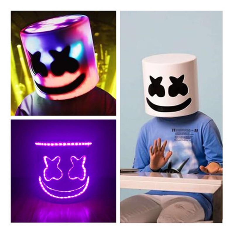 LED Flash Type Dj Marshmello masque cosplay accessoires futur Bar basse musique fête casque complet