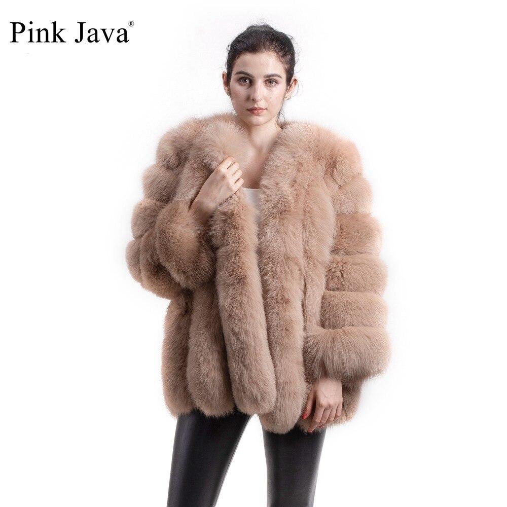 Rosa java qc8128 2017 nova chegada frete grátis feminino inverno real casaco de pele de raposa venda quente grande pele manga longa