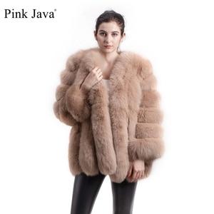 Image 1 - Rose java QC8128 nouveauté femmes vêtements dhiver réel manteau de fourrure de renard naturel veste de fourrure de renard Offre Spéciale grande fourrure à manches longues