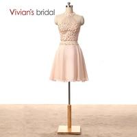 Вивиан Свадебные двух частей Короткие Homecoming платья Линия Бисер блесток Холтер шифон вечерние платье HC3801