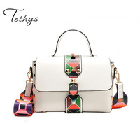 New Small PU Leather Women Crossbody Bags Lady Colorful Strap Rivet Flap Bag Women Shoulder Messenger
