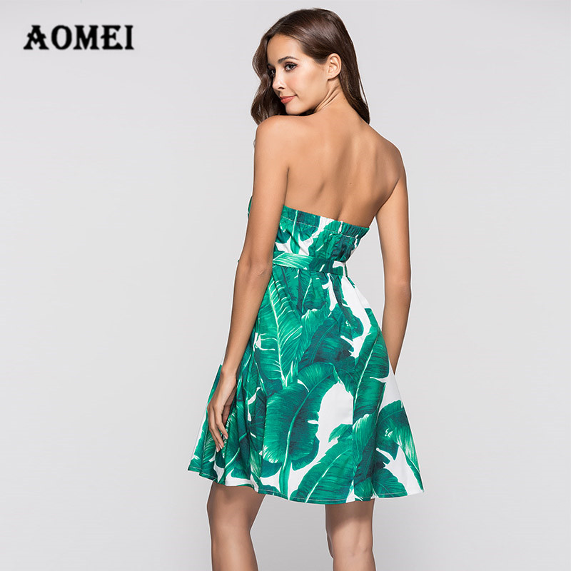 88ff79c76f9 Girls Tropical Print Green Mini Tube Dress Summer New Strapless Cold  Shoulder Tank Dresses with Waist Belt Tunics for Women-in Dresses from  Women s Clothing ...