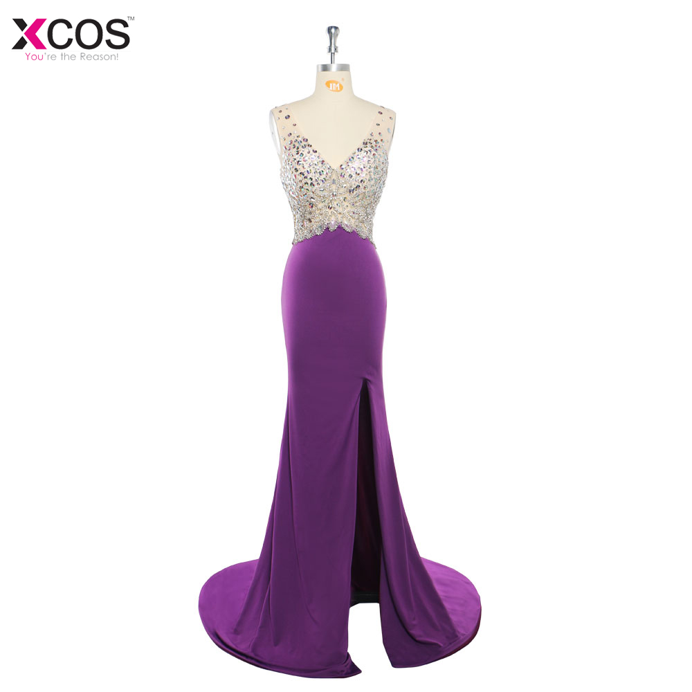 538321a6d69 V Neck Sparkly Prom Dresses 2018 Backless Mermaid Evening Party Dress  Elegant Sexy See Through High Split Robe De Soiree