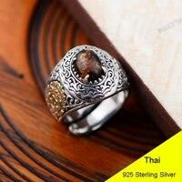Moda Ambra 925 Sterling Silver Retro Anello Aperto Uomini Thai Argento Belle Regalo Gioielli Anello di Barretta CH048934