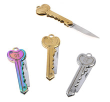Mini Key Knife Letter Camp Outdoor Keyring Ring Keychain Fold Open Opener Pocket Package Survive gadget Multi Tool Blade Box kit(China)