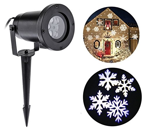 Christmas Projector Lamp Moving White Snowflake LED LandscapeLights Outdoor/Indoor Decor Spotlights Stage for Christmas white snowflake led stage lights waterproof projector lamps outdoor indoor decor spotlights for christmas party holiday lights