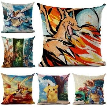 Pokemon obicia na poduszki pościel Cartoon poduszka z nadrukiem okładka sofa samochodowa poduszki Home Decoration poszewka na poduszkę anime 45*45cm