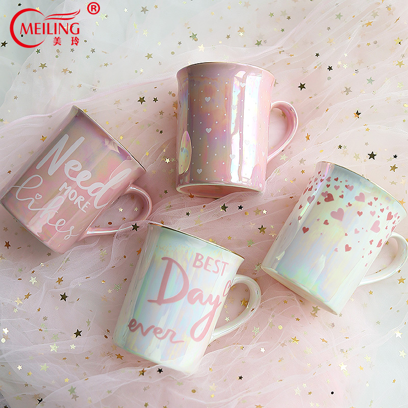 Personalized Cute Mug With Gold Angel Wing Ceramic Cup Pearl White For Breakfast Coffee Latte Milk Unique Gift For Her Mom Boss