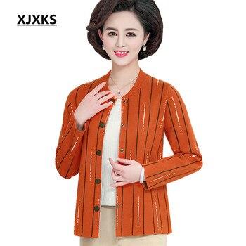0ac74c2d5 XJXKS chaqueta de las mujeres 2019 primavera y otoño nueva moda rayas  casuales de la comodidad de las mujeres chaqueta de abrigo