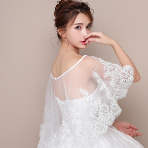 Image 2 - JaneVini New White Bridal Lace Bolero Appliques Sequined Capes Low Front Long Back Summer Shrug Women Shawls Wedding Accessories