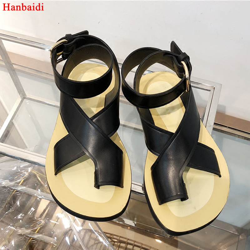 Hanbaidi 2018 Black Red White Real Leather Gladiator Sandals Woman Open Toe Ankle Strappy Thick Bottom Fashion Flat Beach Shoes strappy toe post flat sandals