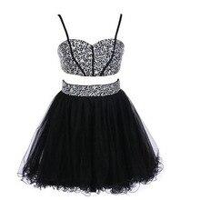 Luxus Glänzendem Kristall Mini Cicktail Kleider Strass Kurze Schwarze Verlobungskleider 2 Stücke Sexy Formale Partei Kleid Sommer