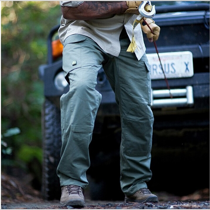 ФОТО Men's multi-pocket  tactics trousers military pants outdoor Camping & Hiking cargo pants Teflon coated scratch resistant fabric