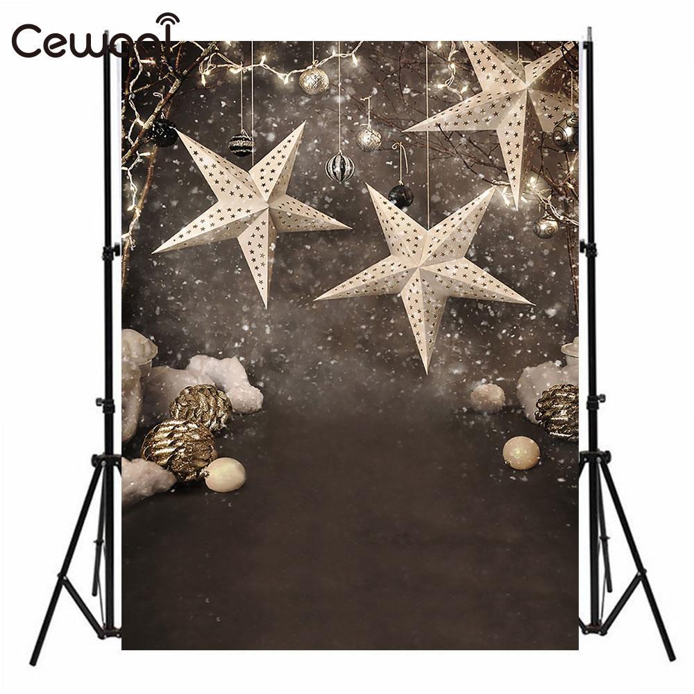 Cewaal 3x5FT White Snow Stars Photo Studio Photography Backdrop Model Studio Background Portable Home Decoration