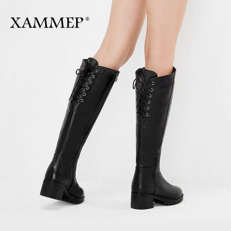Marka kobiety zimowe buty oryginalne skórzane damskie zimowe buty naturalne wełniane damskie buty ciepłe wysokiej jakości buty do kolan w Kozaki do kolan od Buty na  Grupa 2
