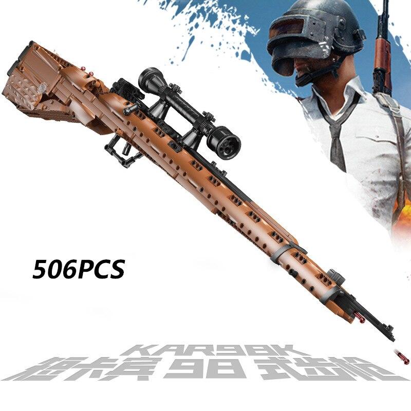PUBG البنادق 98K نموذج العسكرية اللبنات Ww2 قناص بندقية سلاح مجموعات SWAT الطوب الصبي لعبة هدية-في حواجز من الألعاب والهوايات على  مجموعة 1