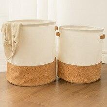 Impermeable cesta de la ropa de los niños juguetes, ropa, organizador de almacenamiento cesta grande de algodón de ropa de lino cesta casa artículos de almacenamiento