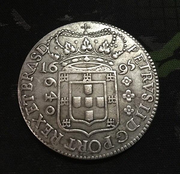 1695 Бразилия 640 Reis-Педро II (Тип 1) серебро Копировать монет