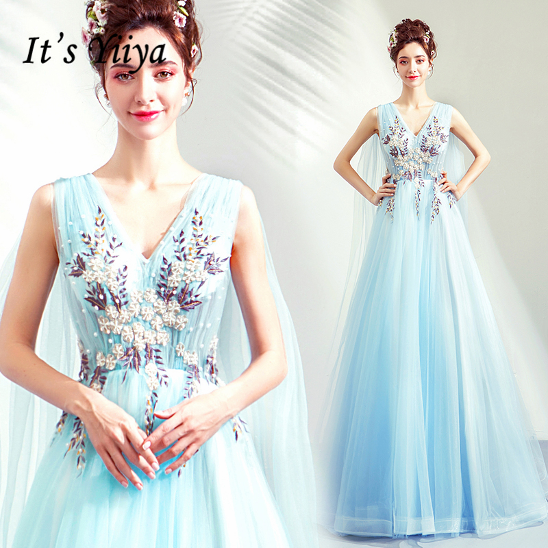 It's YiiYa   Prom   Gowns Sky Blue V-neck Beading Sleeveless Tulle A-line Floor-length Custom Plus size 2019 Long   Prom     Dresses   E219