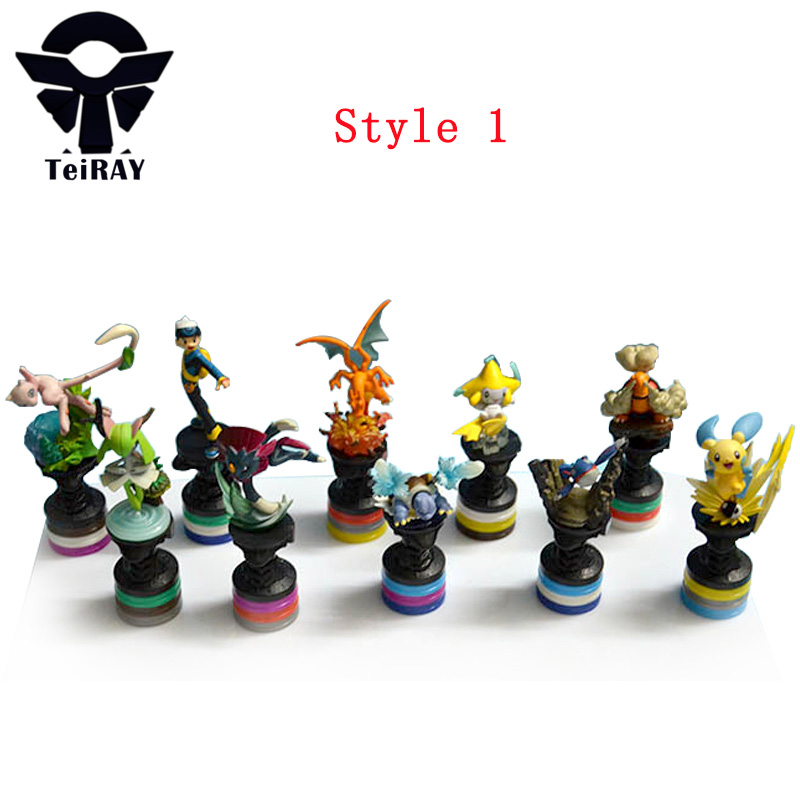 10Pcs Set Pikachu Chess Anime Cartoon Action Figures Toy 8Cm Kawaii Collection Model Toy Decoration Best Birthday Gifts For Kids cartoon pikachu waza museum ver cute gk shock 10cm pikachu pvc action figures toys go pikachu model doll kids birthday gift